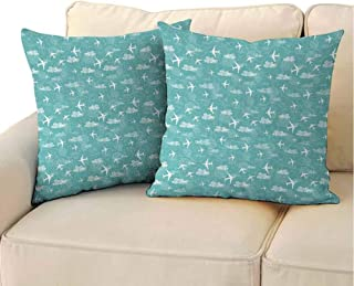 QIAOQIAOLO Indoor Pillowcase Airplane (Set of 2) Disoriented Flying Jets in Clear Sky with Curly Clouds Travel Vacation Theme Room Decoration Turquoise White 18x18 inch
