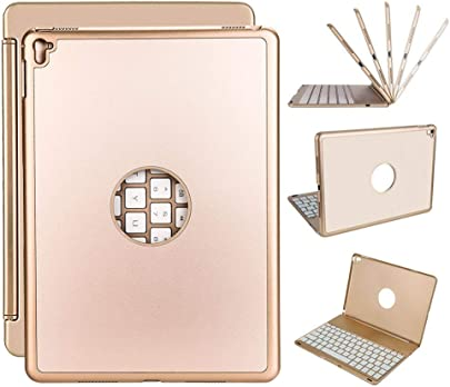 WULAU Tastatur Fall  Keyboard Case f r iPad Pro 9 7  Ultrad nnes iPad Case mit Farben LED-Hintergrundbeleuchteter Bluetooth-Tastatur f r Apple iPad Pro 9 7 Zoll-Gold