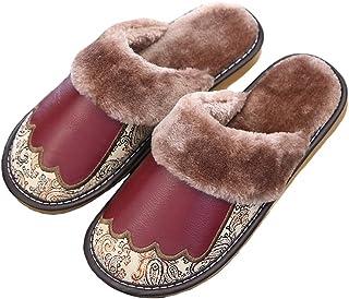 LXDWJ Imprimir Zapatillas de algodón Caliente de Cuero Non-Slip Tendon Bottom Inicio Slippers for Zapatillas (Color : Wine...