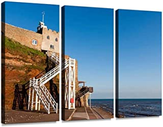 BELISIIS Jacobs Ladder Beach Entrance Steps in Sidmouth, Devon, England Wall Artwork Exclusive Photography Vintage Abstract Paintings Print on Canvas Home Decor Wall Art 3 Panels Framed Ready to Hang
