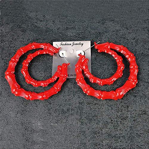 Sieraden voor vrouwenGrote cirkel Creoolse oorringen Fluorescerende kleur Grote bamboe-vrouwen voor beroemde sieradenRood