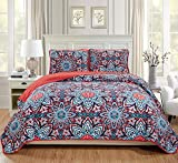 MK Home 3pc King/California King Oversized Quilted Bedspread Coverlet Set Floral Pink/Red Blue Light Pink New