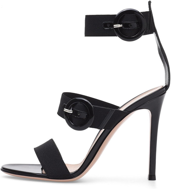 Oversized Sandals Court shoes Women Ladies Stiletto High Heel Strap Buckle Party shoes Platform Pumps Sky-High Heels,Black,EU43