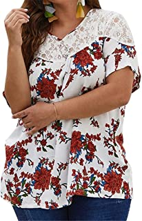 FRPE Women's Summer Short Sleeve Chiffon Print Lace Stitching T-Shirt Blouse Top