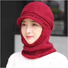 JCY Women Winter Hat Scarf,2 in 1 Baotou Hat Plus Velvet Thickening Warm Warm Duck Tongue Knit Hat Riding Windproof Earmuffs (Color : Red)