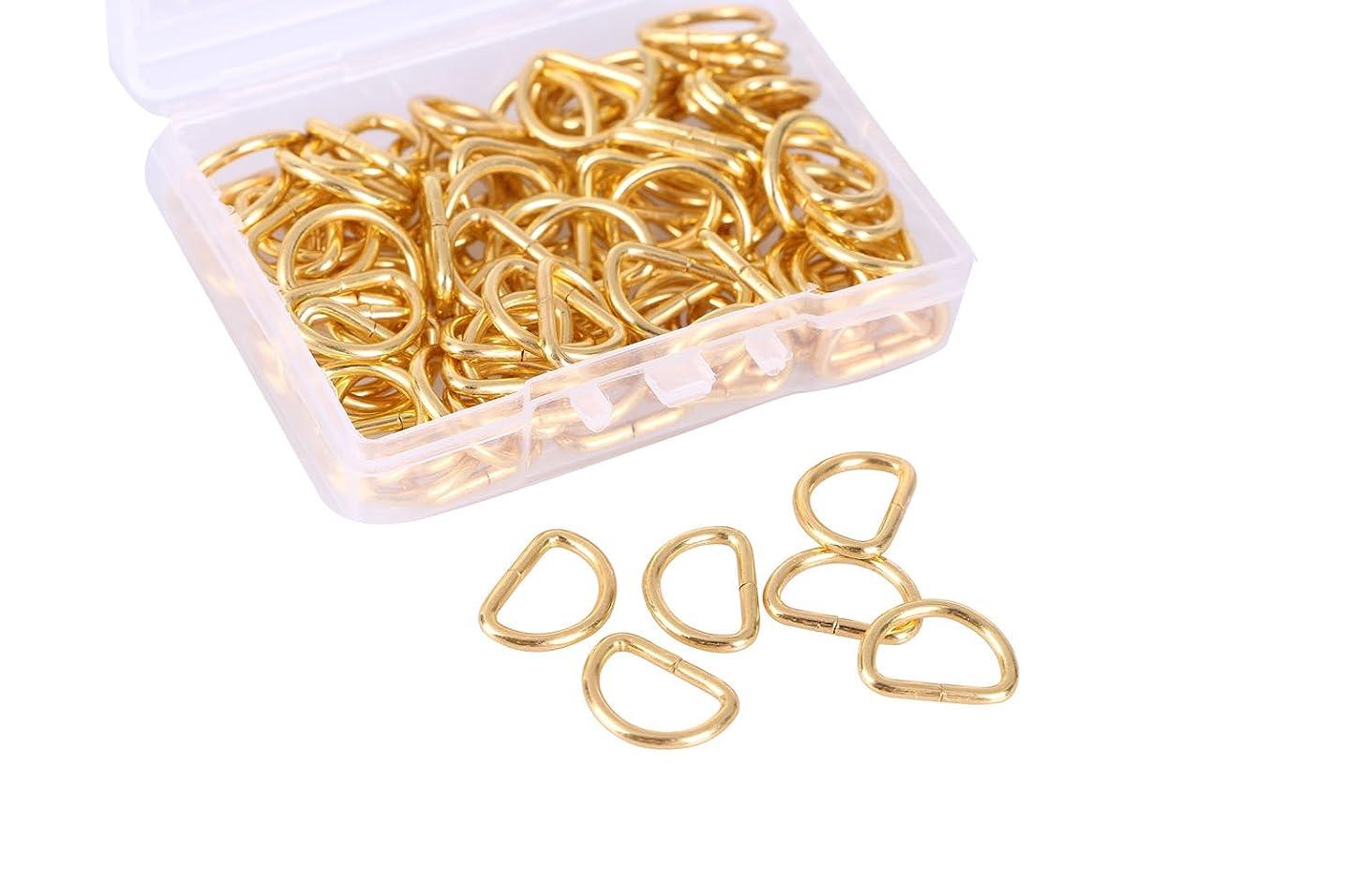 Mini Skater 100PCS Metal D Ring Non Welded Nickel Plated for Handbag Purse (Golden 0.39