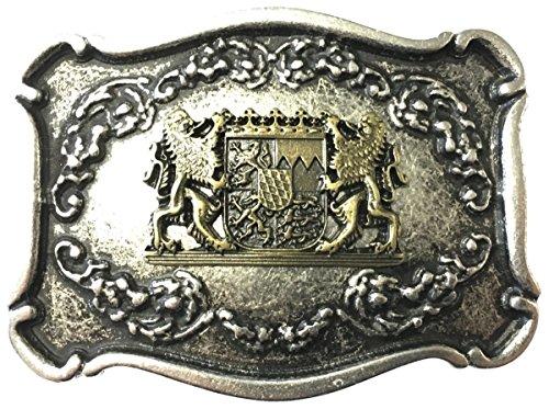 Brazil Lederwaren Gürtelschnalle Löwen mit Wappen 4,0 cm | Buckle Wechselschließe Gürtelschließe 40mm Massiv | für Lederhose Dirndl Tracht