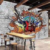 カスタムKTVバーミュージッククラブ3D壁壁画壁紙ギターロックグラフィティアート壊れたレンガの壁家の装飾壁画壁画