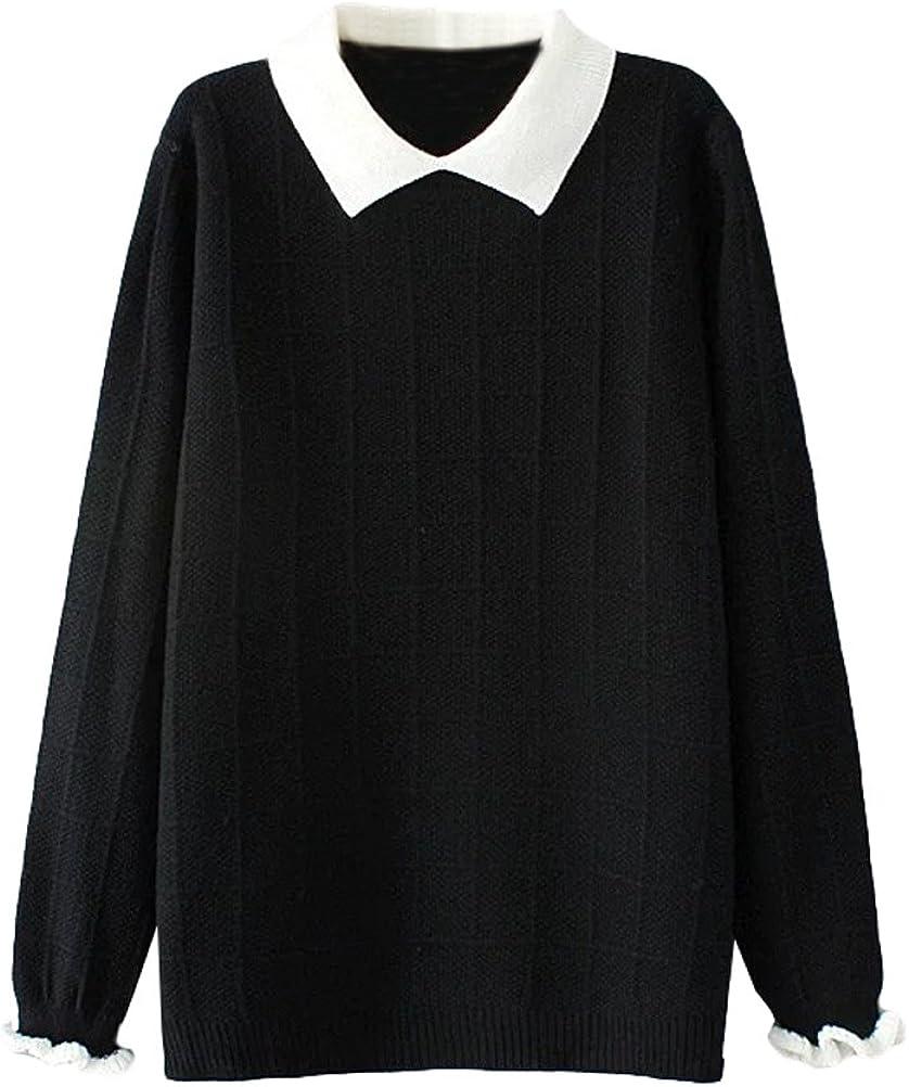Minibee Women's Pan Collar Knitted Sweater Casual Pullover Sweatshirt