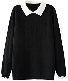 Women's Pan Collar Knitted Sweater Casual Pullover...