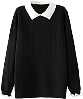 Women's Pan Collar Knitted Sweater Casual Pullover Sweatshirt