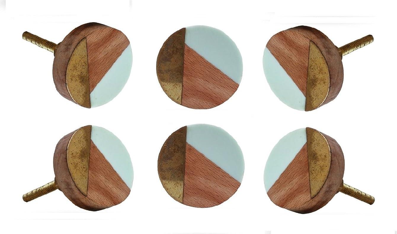 Set of 6 Round Adington Light Blue Drawer Knobs Kitchen Cabinet Dresser Pull