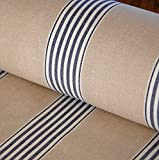 Traditional cotton herringbone bay march stripe fabric by
