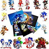 Blue Cartoon Character Stickers Happy Birthday Video Game Theme Decor for Baby Shower Birthday Party Decorations Supplies 20pcs