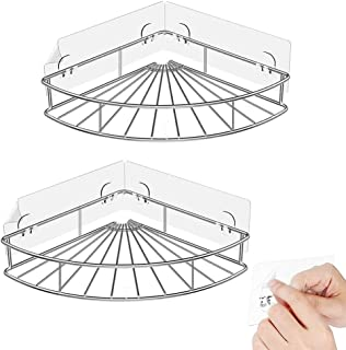 2-Pack Corner Shower Caddy, SUS304 Stainless Steel, Wall Mounted Bathroom Shelf with Adhesive, Storage Organizer for Toile...