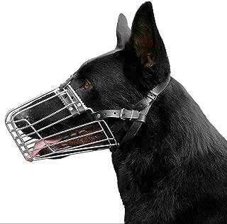 BronzeDog German Shepherd Dog Muzzle Wire Metal Basket Adjustable Leather Muzzle for Large Dogs