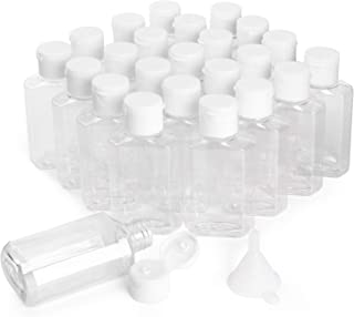 HULISEN 24 Pack 2 oz Clear Empty Hand Sanitizer Bottles, Travel Containers with Flip Cap - Refillable Containers, for Hand...