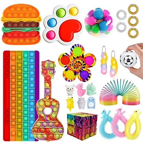 Fidget Toy Set, Cheap Fidget Pack, Fidget Spinner Push Bubble Pop Toys, Sensory Stress Relief Toys Fidget Kit Pop Toy Pack Anxiety Toys for ADHD(Fidget Toy-3)