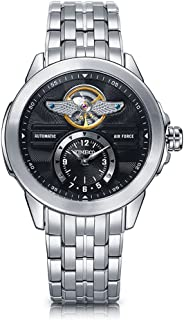 Time100 Mens Skeleton Automatic Watches Army-Series Classic Business Stainless Steel Watch for Men