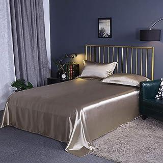 GUANLIDE draps Plats 2 Personnes,Draps de lit en Satin de Soie, Drap Housse Full Queen King, Housse de Matelas Soyeux @ Go...