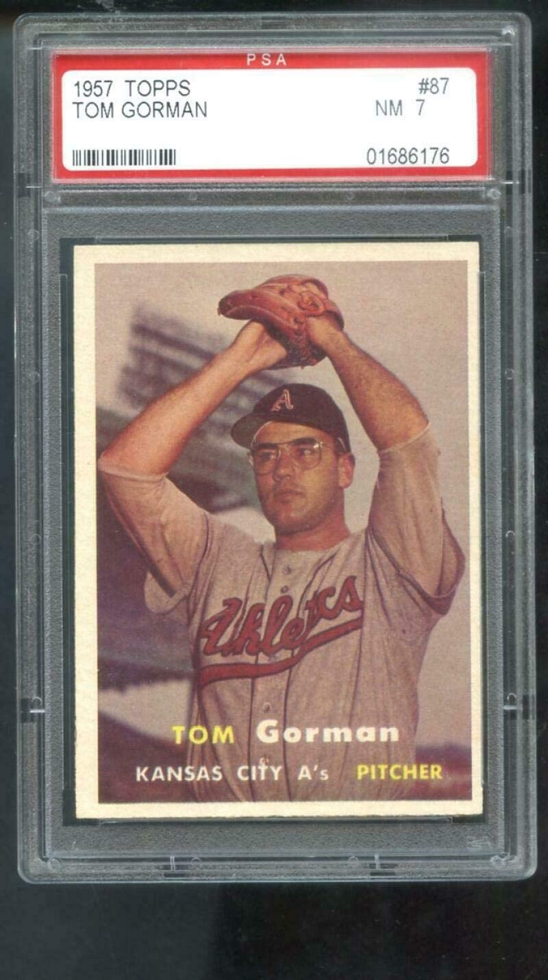 1957 Topps #87 Tom Gorman Kansas City PSA 7 Graded Washington Mall NM Baseba A's Phoenix Mall