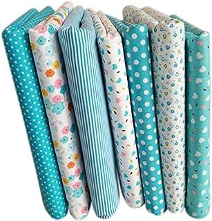 Summerwindy 7 Piezas de 50cm * 50cm Tela de Algodon Impresa Llana de Floral pequena Tela del Algodon para Telas de Coser Almazuela Acolchado Hechos a Mano DIY Textiles (Azul Claro)