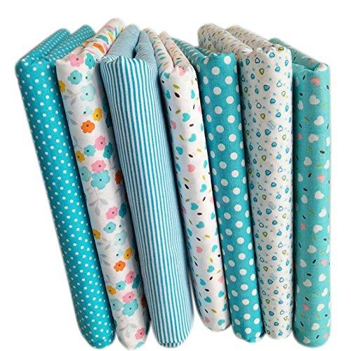 SODIAL 7 piezas de 50cm * 50cm Tela de algodon impresa llana de floral pequena Tela del algodon para telas de coser Almazuela acolchado hechos a mano Diy Textiles (Azul claro)