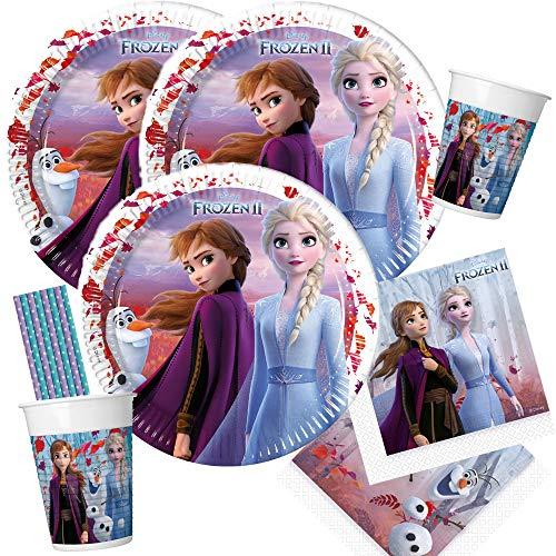 spielum 44-teiliges Party Set Frozen - Die Eiskönigin 2 - Teller Becher Servietten Trinkhalme für 8 Kinder