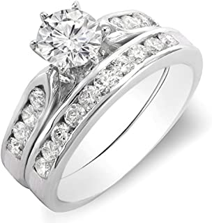 Dazzlingrock Collection 1.00 Carat (ctw) 14K Round Diamond Ladies Bridal Engagement Ring Set with Matching Band 1 CT, White Gold