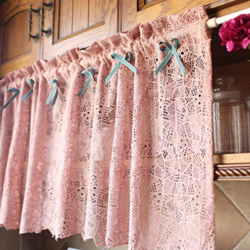 """vctops Crochet Lace Kitchen Curtain Valance with Bow-Knot Farmhouse Rod Pocket Geometric Pattern Semi Sheer Short Cafe Curtain, 1 Piece (59""""x20"""",Pink)"""