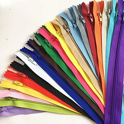 WKXFJJWZC 100 cremalleras de nailon de 20 cm para coser y manualidades, 20 colores