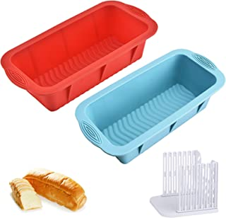 Silicone Bread Loaf Pans for Baking Toast Molds 2 Pack with 1 Slicer Guide Reusable Non Stick Toast Mold for Homemade Brea...