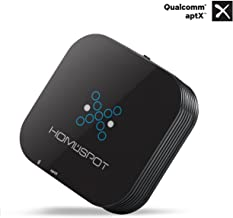 HomeSpot HS-BTADP-236V2 BLUETOOTH RECEIVER APTX for Home Stereo RCA 3.5mm Wireless Audio Adapter Streams Music Audio from Echo Smart Phone Tablet PC BOX PACKAGING - BLACK
