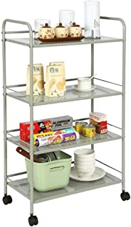 Kitchen Storage Trolley, 3 Tier Metal All Purpose Microwave Racks Serving Rolling Cart, with Locking Wheels Chopsticks Cyl...