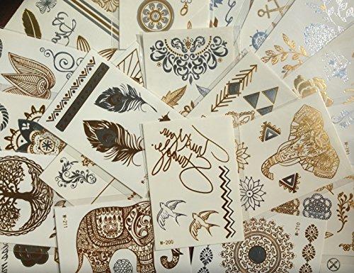 10 kleine Sheets temporäre Metallic Tattoos - Gold, Silber