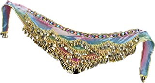 Women's Colorful Skirt Belly Dance Hip Scarf Wrap With Sequins and Beads (Free Size)