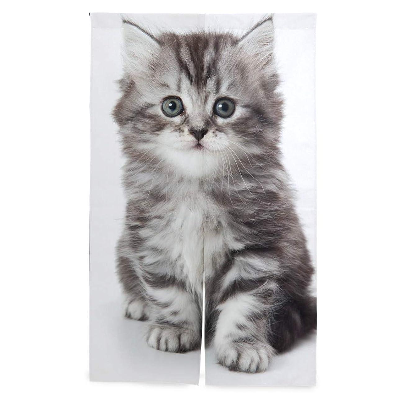ライセンス一掃する無知マキク(MAKIKU) のれん 猫柄 おしゃれ ロング 暖簾 洗濯可 突っ張り棒付き 幅86cm×丈143cm