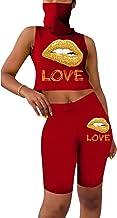 JYAOVO Womens 2 Piece Summer Bandana Balaclava Sleeveless Crop Tops with Face Mouth Mask Short Pants Sets Sports Outfit