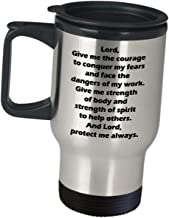 Appreciation Gift Idea For Correctional Officer - Lord Give Me The Courage To Conquer My Fears - Funny Cute Gifts Coffee Tumbler Insulated Travel Mug Prison Detention Jail Police Supervisor Prisoner