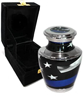 Flag Cremation Urns for Adult Ashes - for Funeral, Niche, Columbarium or Burial - Urns for Ashes - Large, Medium, Extra Large and Keepsake (Blue Line Flag, Small/Keepsake)