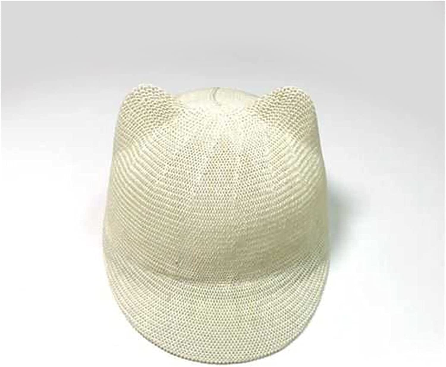 CHENGCHAO Sun hat New Straw Cap for Boy Girl Solid Summer Baby Sun Hat Breathable with Ears Beach Kids Snapback Hats Children Baseball Cap Shading (Color : 2, Size : 48 52cm)