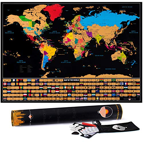 Scratch Off Map of The World with States and Flags – Deluxe...