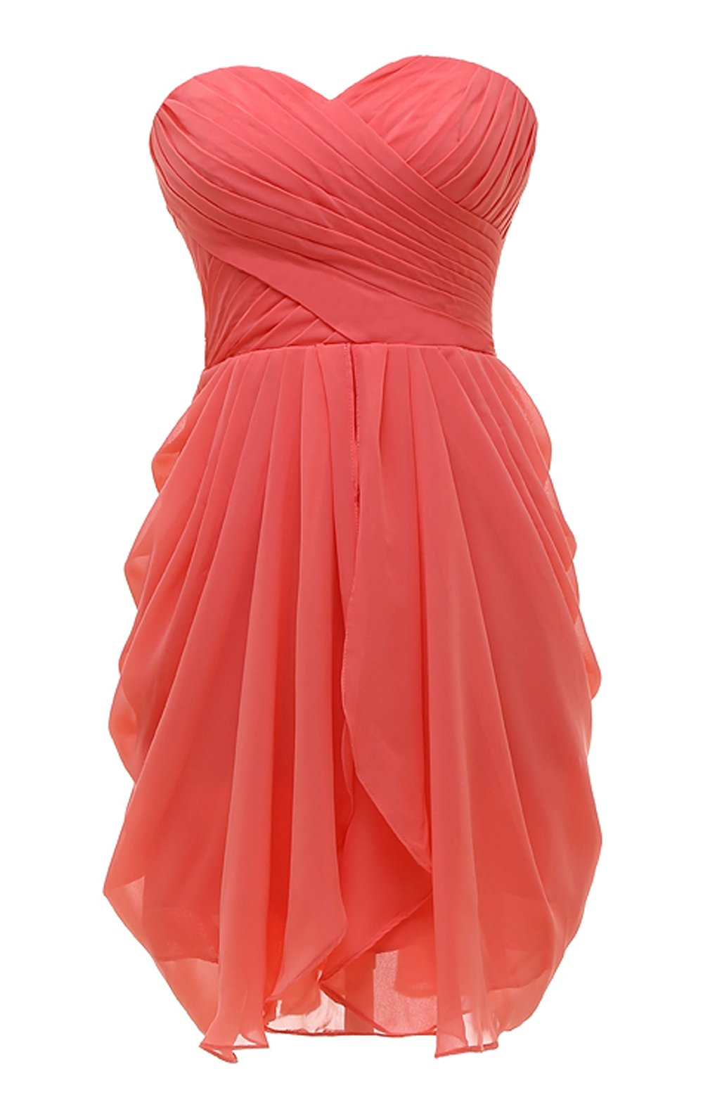 Available at Amazon: Kiss Dress Women's Bridesmaid Dresses Short Strapless Sweetheart Chiffon Prom Gowns