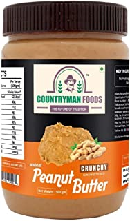 Countryman Foods All Natural Peanut Butter Crunchy Unsweetened 500 GM | 30% Protein, Gluten Free, Non-GMO, Vegan, Healthy,...