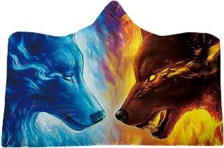 Novobey Hooded Blanket 3D Galaxy Sky with Moon Print Super Soft Sherpa Fleece Blanket (Adults - 60 x 80 inch, Wolf)