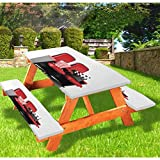 """3 Pcs 72"""" Polyester Picnic Table & Benches Cover,3D Illustration Cinema Concept Clapper Board and Popcorn on Theater Seat Design,fits 6 ft Tables and Benches for Outdoor,Park,Patio,Red Black White"""