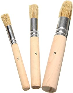Royee 3 Pcs Wooden Stencil Brushes for Acrylic Paint Natural Wood Bristle Template Brush for Oil Painting Watercolor Paint...