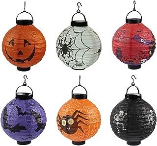 CheeseandU Halloween Hanging Decoration 8 Pack Halloween Paper Lanterns with LED Light & Hook Jack Pumpkin Spider Skeleton Pattern Lantern Perfect for Halloween Party Haunted House Hotel Club Bar