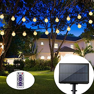 Solar String Lights 60 LED 33feet Outdoor Waterproof Solar-Powered Crystal Ball Decorative Lights for Garden, Patio, Yard, Home, Chrismas Tree, Parties (Warm Whtie)