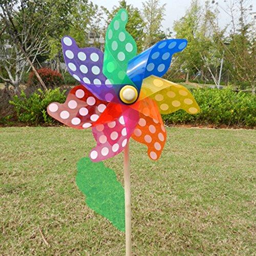 Lottoy Bunte Windrad Kunststoff Windmühle mit Holzstab, Rasen Windräder, Party Windräder Windmühle, DIY Windräder Set für Kinder Spielzeug Garten Rasen Dekor